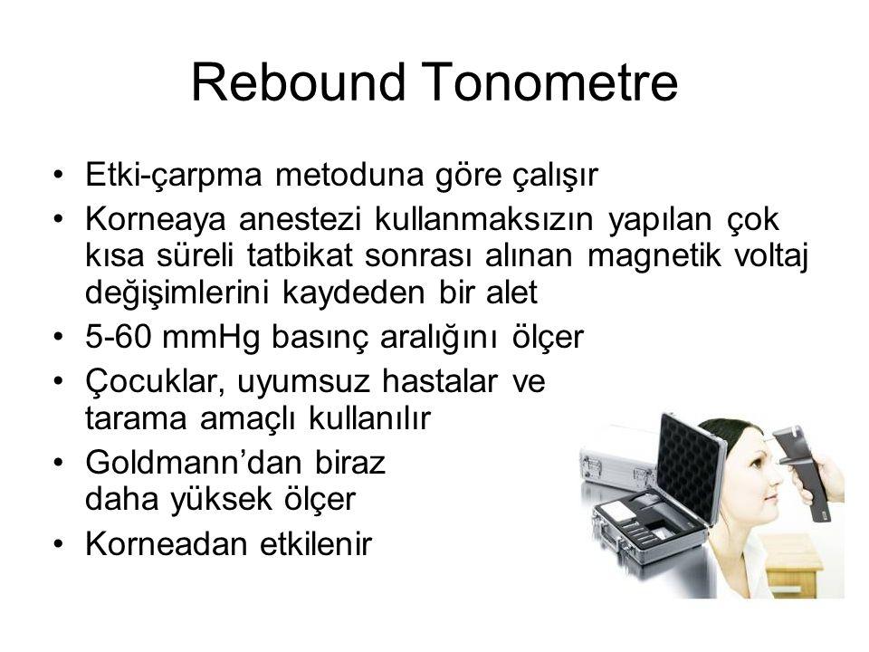 Rebound Tonometre Etki-çarpma metoduna göre çalışır Korneaya anestezi kullanmaksızın yapılan çok kısa süreli tatbikat sonrası alınan magnetik voltaj d