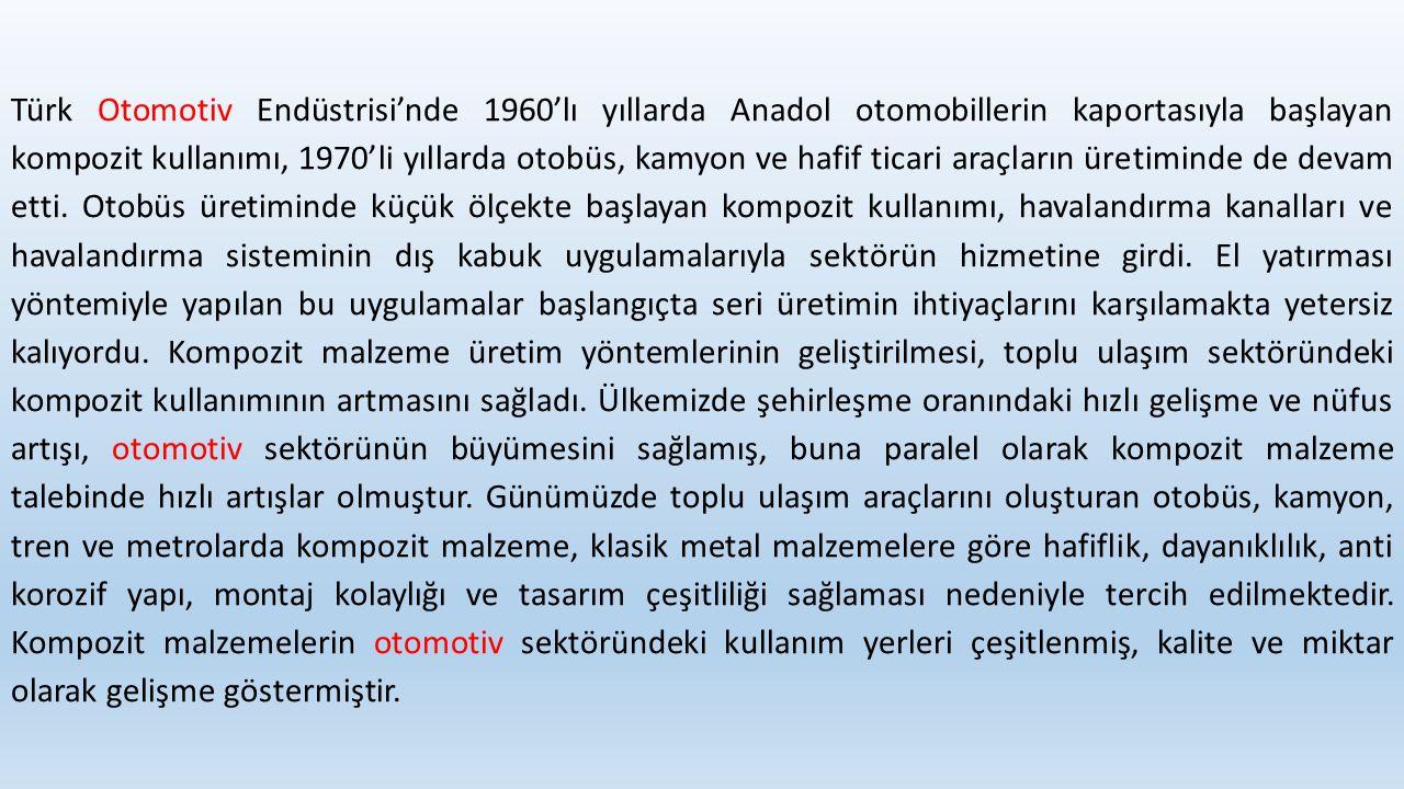 Türk Otomotiv Endüstrisi'nde 1960'lı yıllarda Anadol otomobillerin kaportasıyla başlayan kompozit kullanımı, 1970'li yıllarda otobüs, kamyon ve hafif