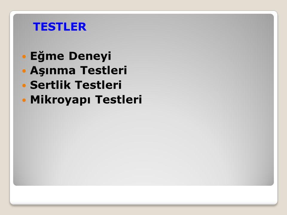 TESTLER Eğme Deneyi Aşınma Testleri Sertlik Testleri Mikroyapı Testleri