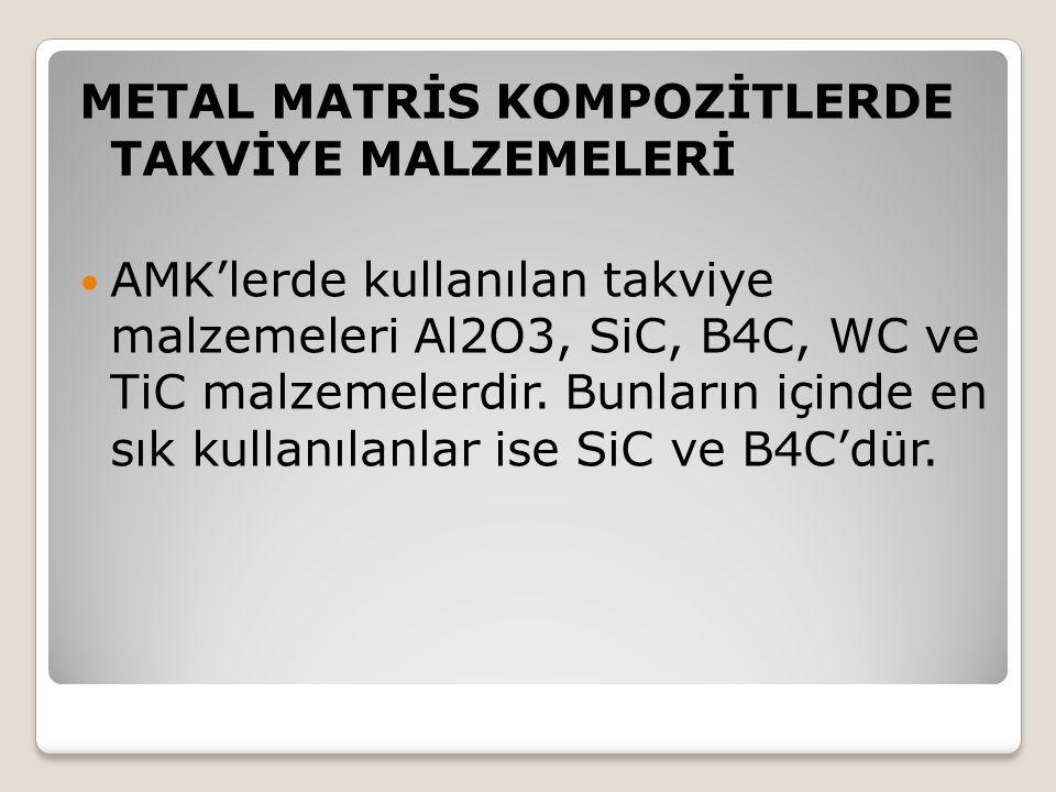 METAL MATRİS KOMPOZİTLERDE TAKVİYE MALZEMELERİ AMK'lerde kullanılan takviye malzemeleri Al2O3, SiC, B4C, WC ve TiC malzemelerdir. Bunların içinde en s