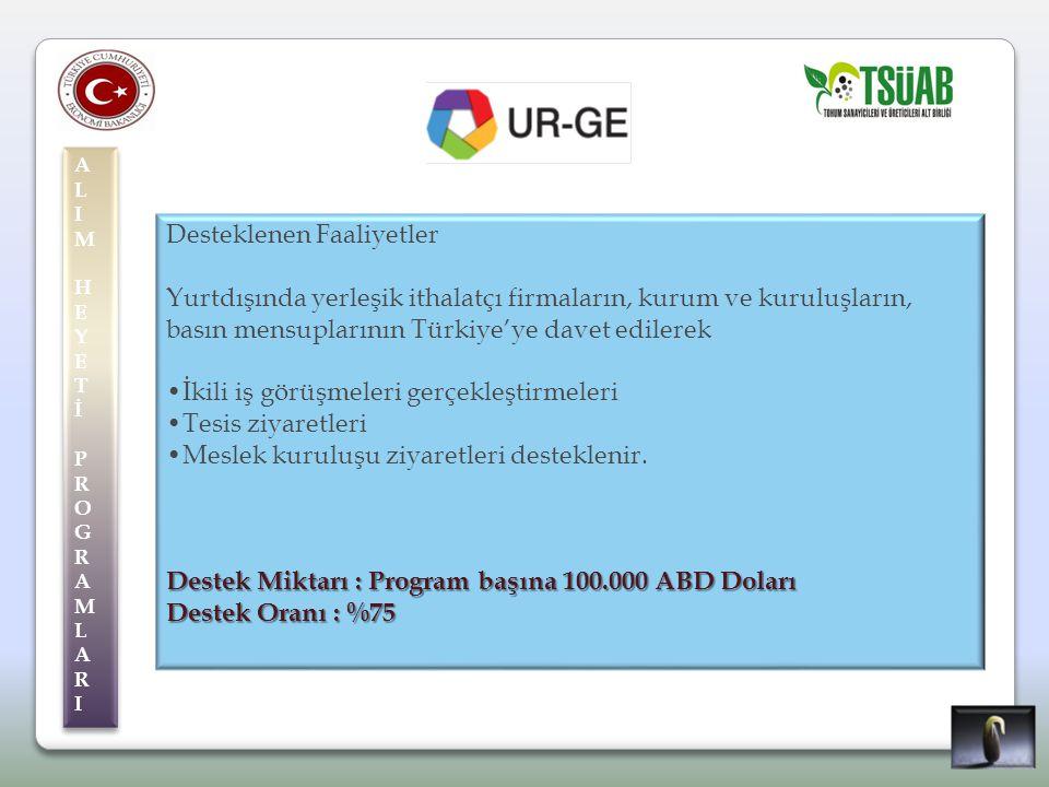 ALIMHEYETİPROGRAMLARIALIMHEYETİPROGRAMLARI ALIMHEYETİPROGRAMLARIALIMHEYETİPROGRAMLARI Desteklenen Faaliyetler Yurtdışında yerleşik ithalatçı firmaların, kurum ve kuruluşların, basın mensuplarının Türkiye'ye davet edilerek İkili iş görüşmeleri gerçekleştirmeleri Tesis ziyaretleri Meslek kuruluşu ziyaretleri desteklenir.