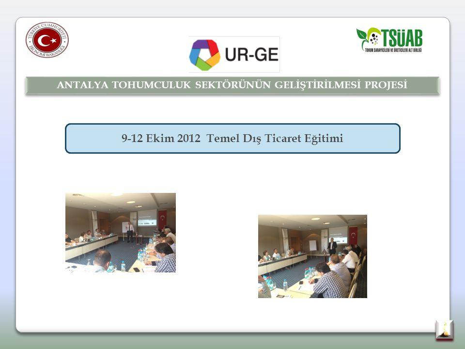 9-12 Ekim 2012 Temel Dış Ticaret Eğitimi ANTALYA TOHUMCULUK SEKTÖRÜNÜN GELİŞTİRİLMESİ PROJESİ