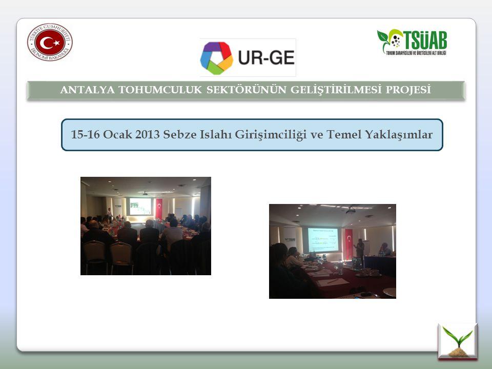 15-16 Ocak 2013 Sebze Islahı Girişimciliği ve Temel Yaklaşımlar ANTALYA TOHUMCULUK SEKTÖRÜNÜN GELİŞTİRİLMESİ PROJESİ