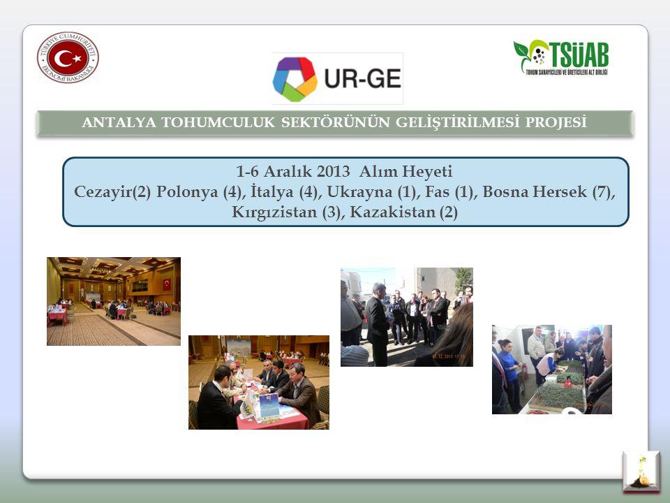 1-6 Aralık 2013 Alım Heyeti Cezayir(2) Polonya (4), İtalya (4), Ukrayna (1), Fas (1), Bosna Hersek (7), Kırgızistan (3), Kazakistan (2) ANTALYA TOHUMCULUK SEKTÖRÜNÜN GELİŞTİRİLMESİ PROJESİ