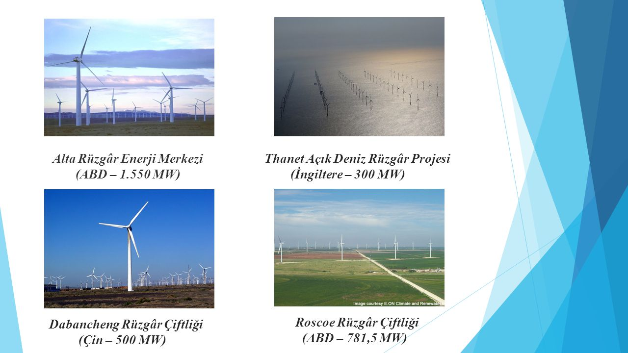 Alta Rüzgâr Enerji Merkezi (ABD – 1.550 MW) Roscoe Rüzgâr Çiftliği (ABD – 781,5 MW) Dabancheng Rüzgâr Çiftliği (Çin – 500 MW) Thanet Açık Deniz Rüzgâr