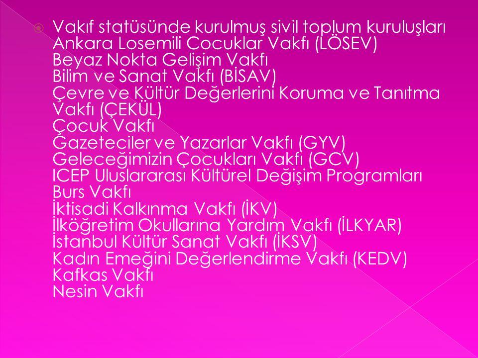  Vakıf statüsünde kurulmuş sivil toplum kuruluşları Ankara Losemili Cocuklar Vakfı (LÖSEV) Beyaz Nokta Gelişim Vakfı Bilim ve Sanat Vakfı (BİSAV) Çev