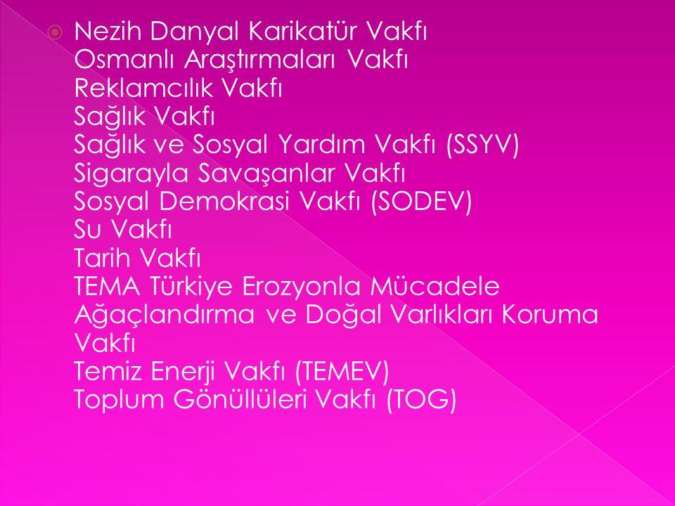  Nezih Danyal Karikatür Vakfı Osmanlı Araştırmaları Vakfı Reklamcılık Vakfı Sağlık Vakfı Sağlık ve Sosyal Yardım Vakfı (SSYV) Sigarayla Savaşanlar Va