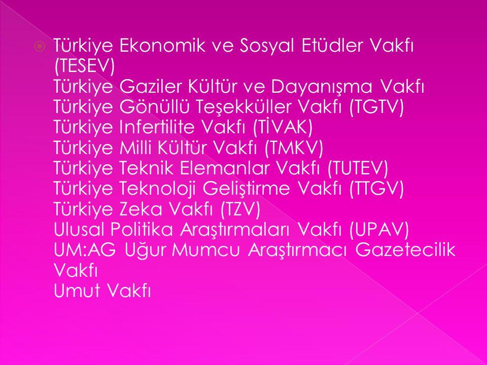  Türkiye Ekonomik ve Sosyal Etüdler Vakfı (TESEV) Türkiye Gaziler Kültür ve Dayanışma Vakfı Türkiye Gönüllü Teşekküller Vakfı (TGTV) Türkiye Infertil