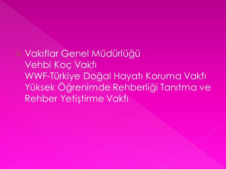  Vakıflar Genel Müdürlüğü Vehbi Koç Vakfı WWF-Türkiye Doğal Hayatı Koruma Vakfı Yüksek Öğrenimde Rehberliği Tanıtma ve Rehber Yetiştirme Vakfı