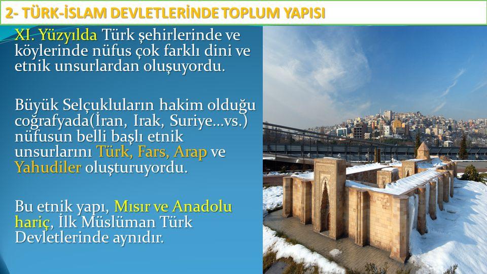 XI.Yüzyılda Türk şehirlerinde ve köylerinde nüfus çok farklı dini ve etnik unsurlardan oluşuyordu.