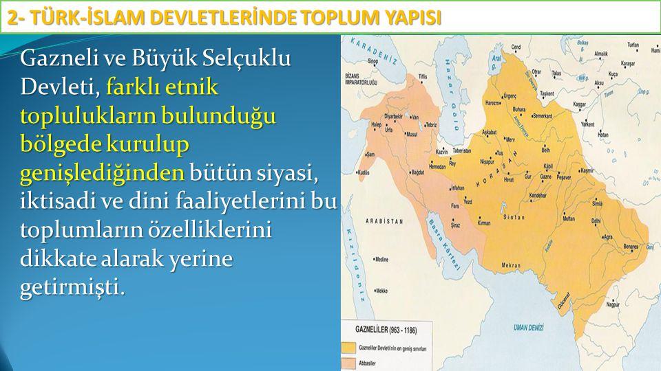 Gazneli ve Büyük Selçuklu Devleti, farklı etnik toplulukların bulunduğu bölgede kurulup genişlediğinden bütün siyasi, iktisadi ve dini faaliyetlerini