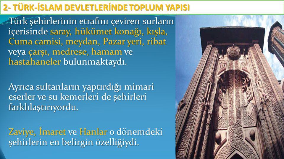Türk şehirlerinin etrafını çeviren surların içerisinde saray, hükümet konağı, kışla, Cuma camisi, meydan, Pazar yeri, ribat veya çarşı, medrese, hamam ve hastahaneler bulunmaktaydı.