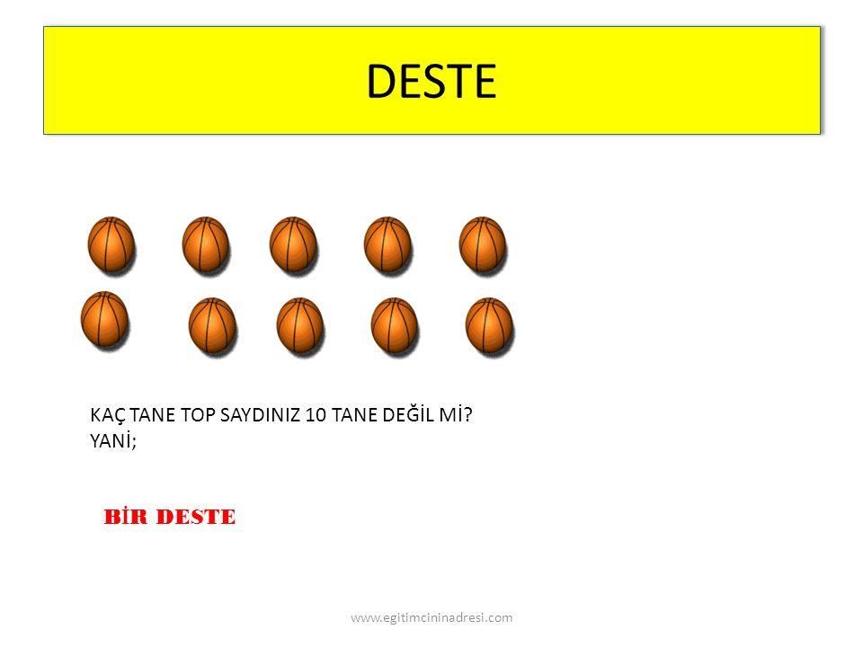 DESTE KAÇ TANE TOP SAYDINIZ 10 TANE DEĞİL Mİ? YANİ; B İ R DESTE www.egitimcininadresi.com
