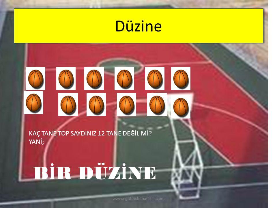 Düzine KAÇ TANE TOP SAYDINIZ 12 TANE DEĞİL Mİ? YANİ; B İ R DÜZ İ NE www.egitimcininadresi.com