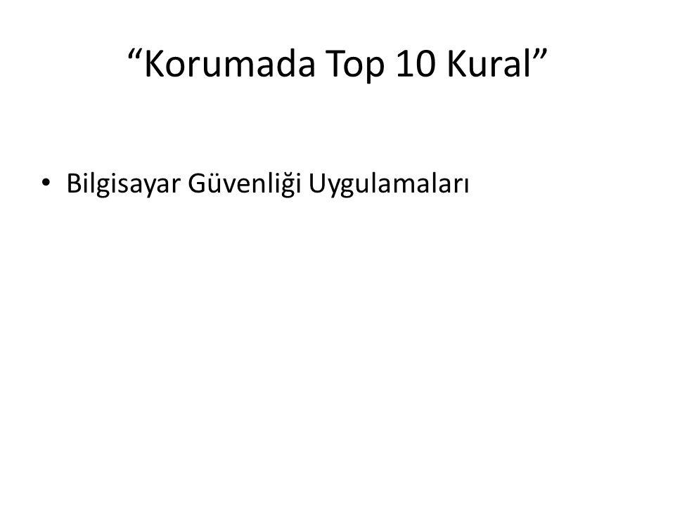 """""""Korumada Top 10 Kural"""" Bilgisayar Güvenliği Uygulamaları"""