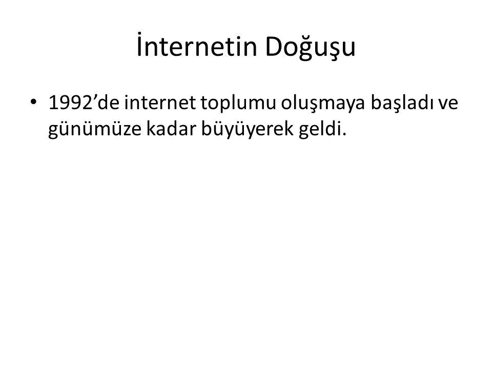 İnternetin Doğuşu 1992'de internet toplumu oluşmaya başladı ve günümüze kadar büyüyerek geldi.