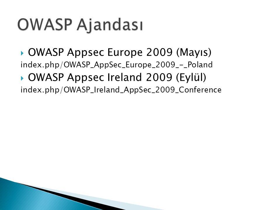  OWASP Appsec Europe 2009 (Mayıs) index.php/OWASP_AppSec_Europe_2009_-_Poland  OWASP Appsec Ireland 2009 (Eylül) index.php/OWASP_Ireland_AppSec_2009