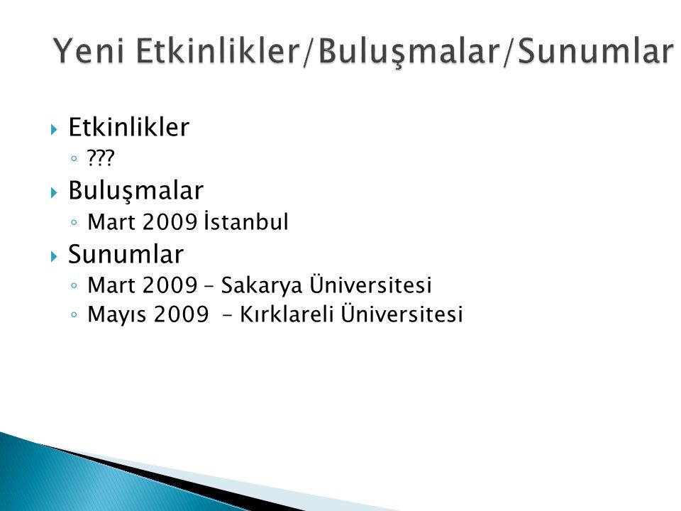  Etkinlikler ◦ ???  Buluşmalar ◦ Mart 2009 İstanbul  Sunumlar ◦ Mart 2009 – Sakarya Üniversitesi ◦ Mayıs 2009 – Kırklareli Üniversitesi
