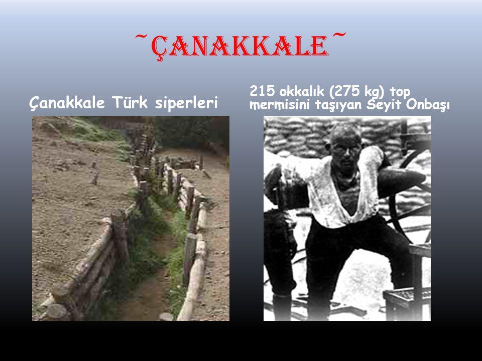~ÇANAKKALE ~ Çanakkale Türk siperleri 215 okkalık (275 kg) top mermisini taşıyan Seyit Onbaşı