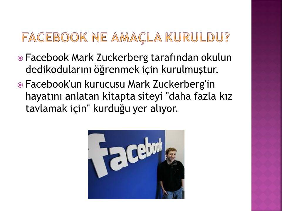  Facebook Mark Zuckerberg tarafından okulun dedikodularını öğrenmek için kurulmuştur.