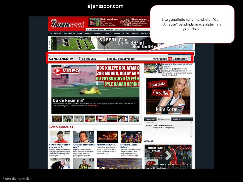 Görseller Temsilidir ajansspor.com * Görseller temsilidir Site genelinde konumlandırılan Canlı Anlatım bandında maç anlatımları yapılırken…
