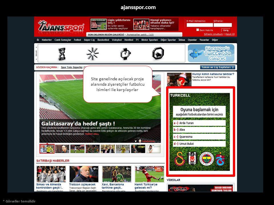 * Görseller temsilidir ajansspor.com Site genelinde açılacak proje alanında ziyaretçiler futbolcu isimleri ile karşılaşırlar