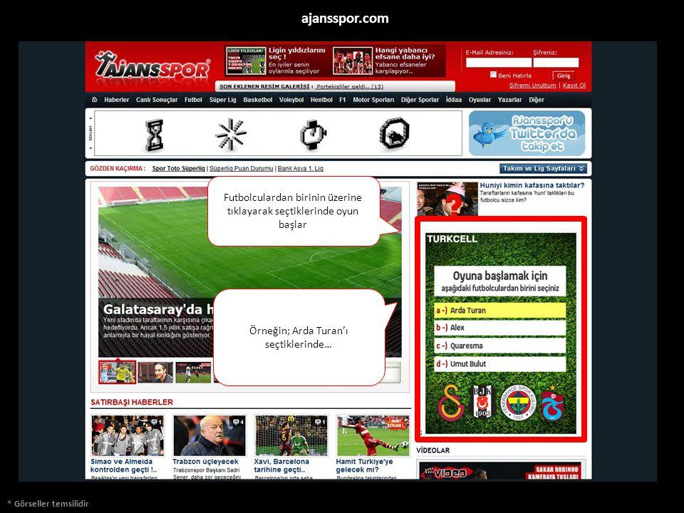 * Görseller temsilidir ajansspor.com Futbolculardan birinin üzerine tıklayarak seçtiklerinde oyun başlar Örneğin; Arda Turan'ı seçtiklerinde…