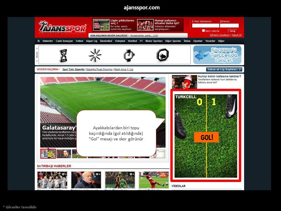 * Görseller temsilidir ajansspor.com Ayakkabılardan biri topu kaçırdığında (gol atıldığında) Gol mesajı ve skor görünür 000