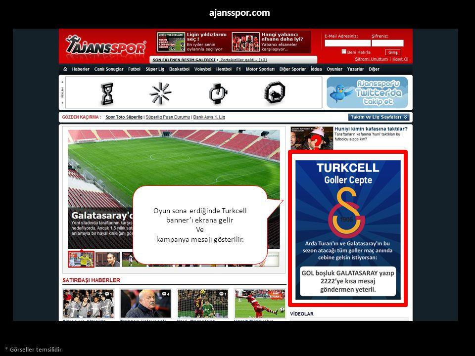 * Görseller temsilidir ajansspor.com Oyun sona erdiğinde Turkcell banner'ı ekrana gelir Ve kampanya mesajı gösterilir.