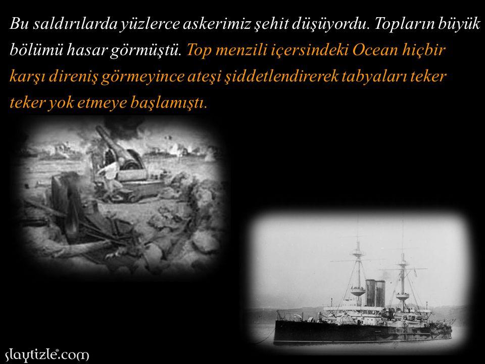 Seyit Onbaşı'nın bulunduğu Rumeli Tabyası'nı hedef seçen Ocean savaş gemisi, Seyit Onbaşı ve Tabyadaki askerlerimize ateş açmıştı.