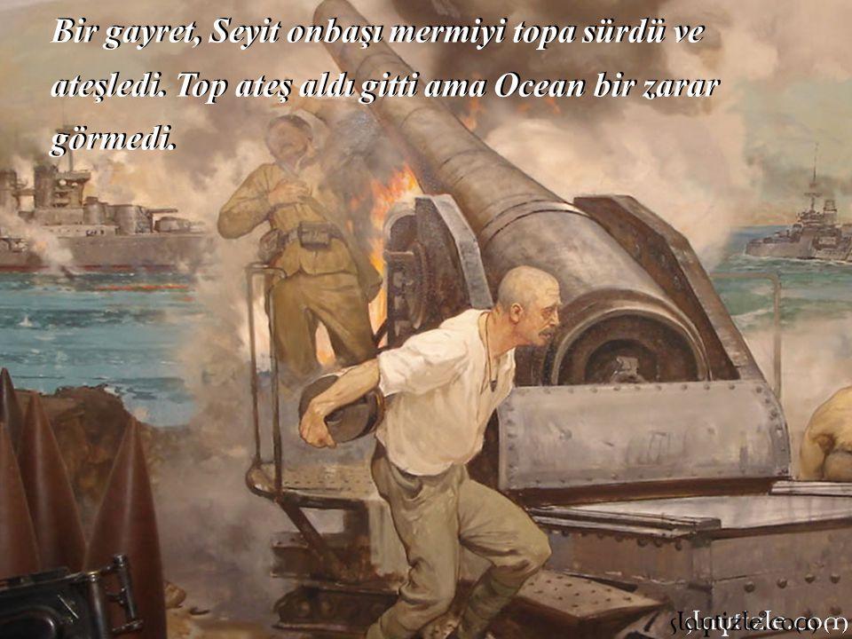 """Seyit Onbaşı derinden bir; """"Ya Allah Bismillah…"""" Çekti ve yüklendi birinci top mermisine. Sırtına aldığı 217 kiloluk dev mermiyi 3 basamak çıkıp, topu"""