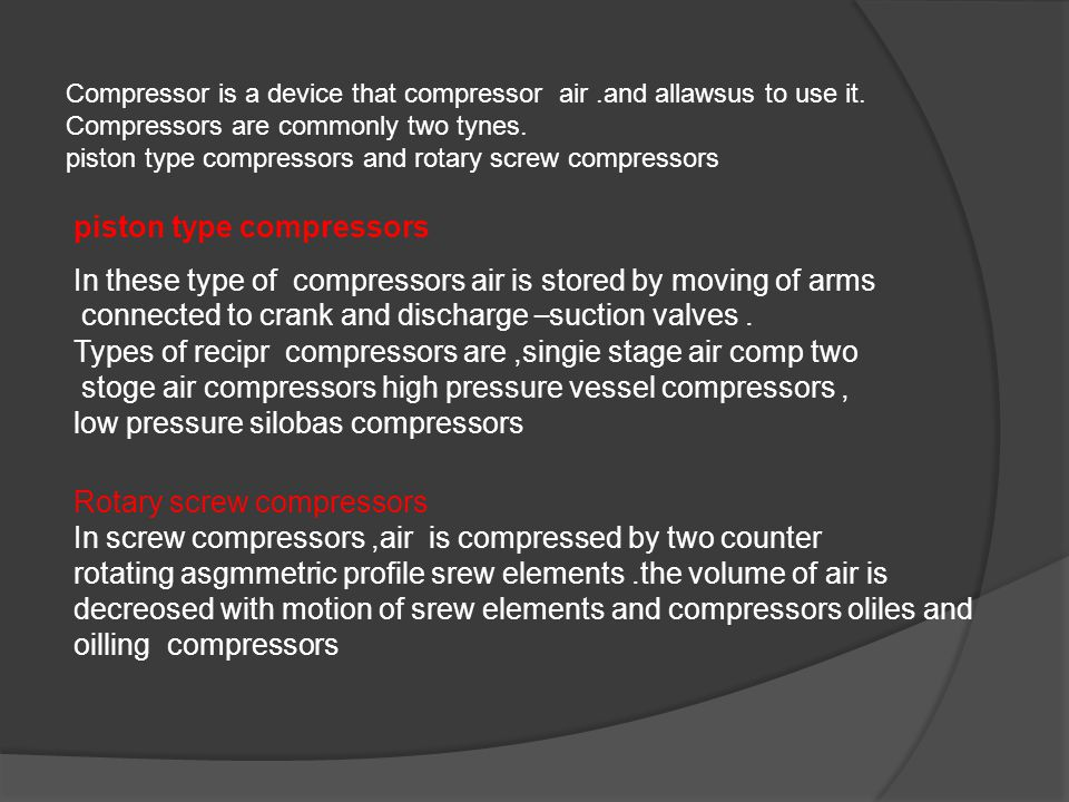 Compressor is a device that compressor air.and allawsus to use it.