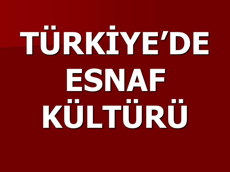 TÜRKİYE'DE ESNAF KÜLTÜRÜ