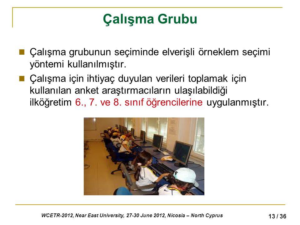 WCETR-2012, Near East University, 27-30 June 2012, Nicosia – North Cyprus 13 / 36 Çalışma Grubu Çalışma grubunun seçiminde elverişli örneklem seçimi yöntemi kullanılmıştır.