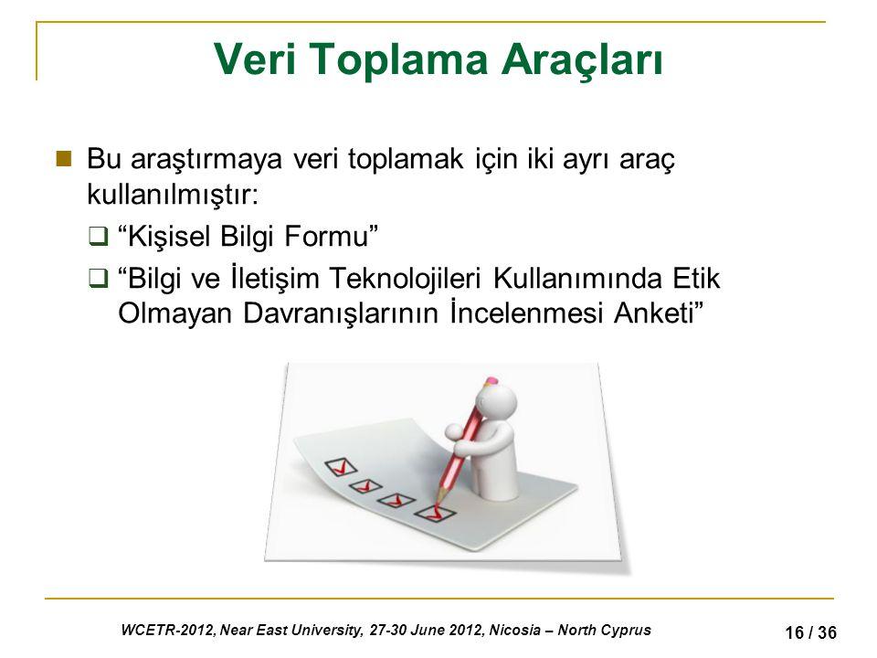 WCETR-2012, Near East University, 27-30 June 2012, Nicosia – North Cyprus 16 / 36 Veri Toplama Araçları Bu araştırmaya veri toplamak için iki ayrı araç kullanılmıştır:  Kişisel Bilgi Formu  Bilgi ve İletişim Teknolojileri Kullanımında Etik Olmayan Davranışlarının İncelenmesi Anketi
