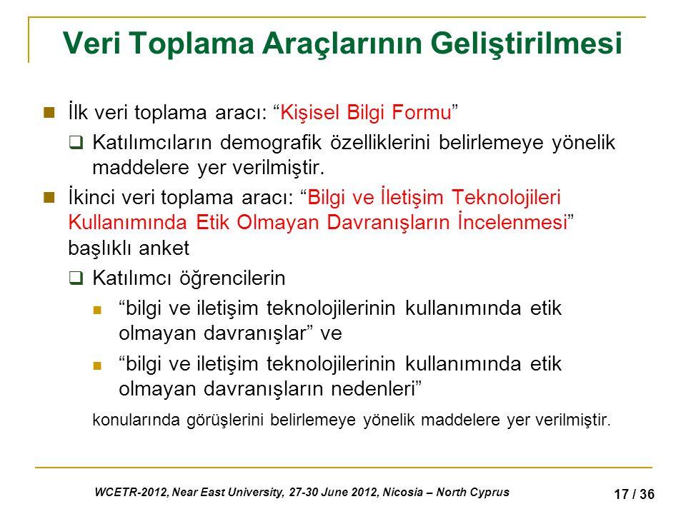 WCETR-2012, Near East University, 27-30 June 2012, Nicosia – North Cyprus 17 / 36 Veri Toplama Araçlarının Geliştirilmesi İlk veri toplama aracı: Kişisel Bilgi Formu  Katılımcıların demografik özelliklerini belirlemeye yönelik maddelere yer verilmiştir.