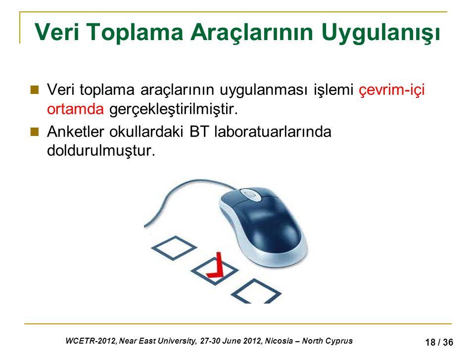 WCETR-2012, Near East University, 27-30 June 2012, Nicosia – North Cyprus 18 / 36 Veri Toplama Araçlarının Uygulanışı Veri toplama araçlarının uygulanması işlemi çevrim-içi ortamda gerçekleştirilmiştir.
