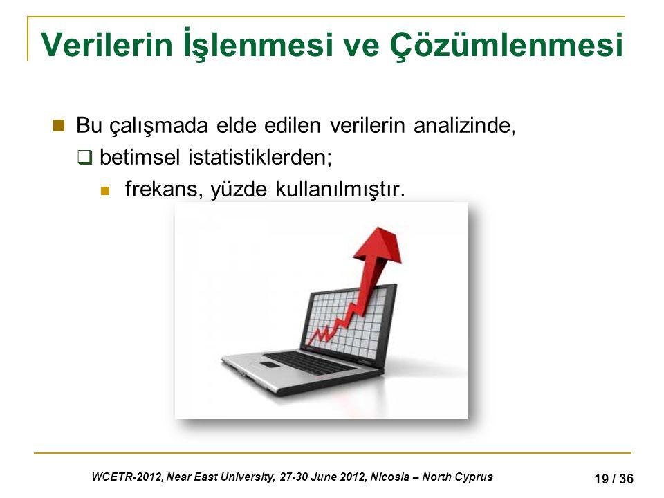 WCETR-2012, Near East University, 27-30 June 2012, Nicosia – North Cyprus 19 / 36 Verilerin İşlenmesi ve Çözümlenmesi Bu çalışmada elde edilen verilerin analizinde,  betimsel istatistiklerden; frekans, yüzde kullanılmıştır.