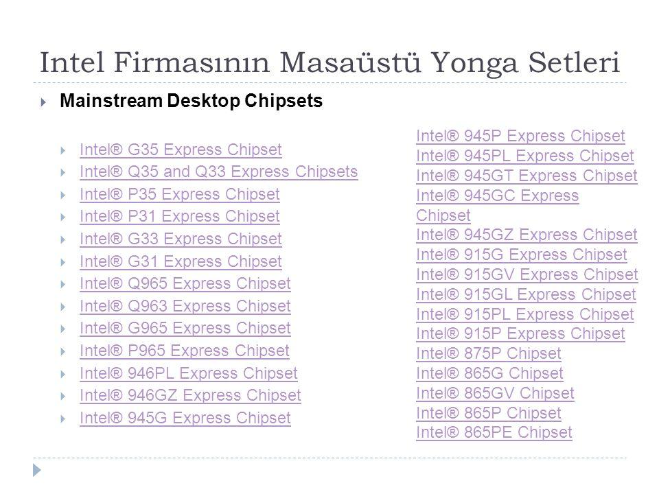 Intel Firmasının Masaüstü Yonga Setleri  Mainstream Desktop Chipsets  Intel® G35 Express Chipset Intel® G35 Express Chipset  Intel® Q35 and Q33 Exp