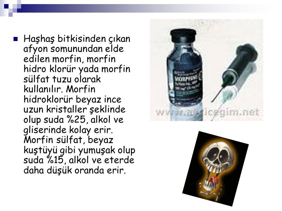 Haşhaş bitkisinden çıkan afyon somunundan elde edilen morfin, morfin hidro klorür yada morfin sülfat tuzu olarak kullanılır. Morfin hidroklorür beyaz