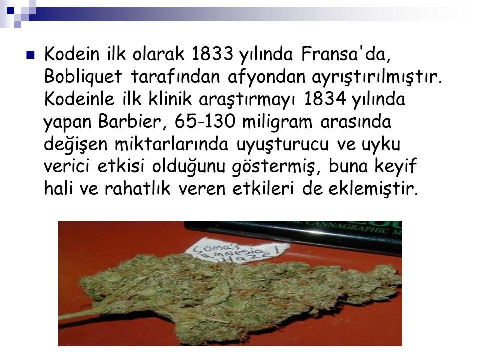 Kodein ilk olarak 1833 yılında Fransa'da, Bobliquet tarafından afyondan ayrıştırılmıştır. Kodeinle ilk klinik araştırmayı 1834 yılında yapan Barbier,