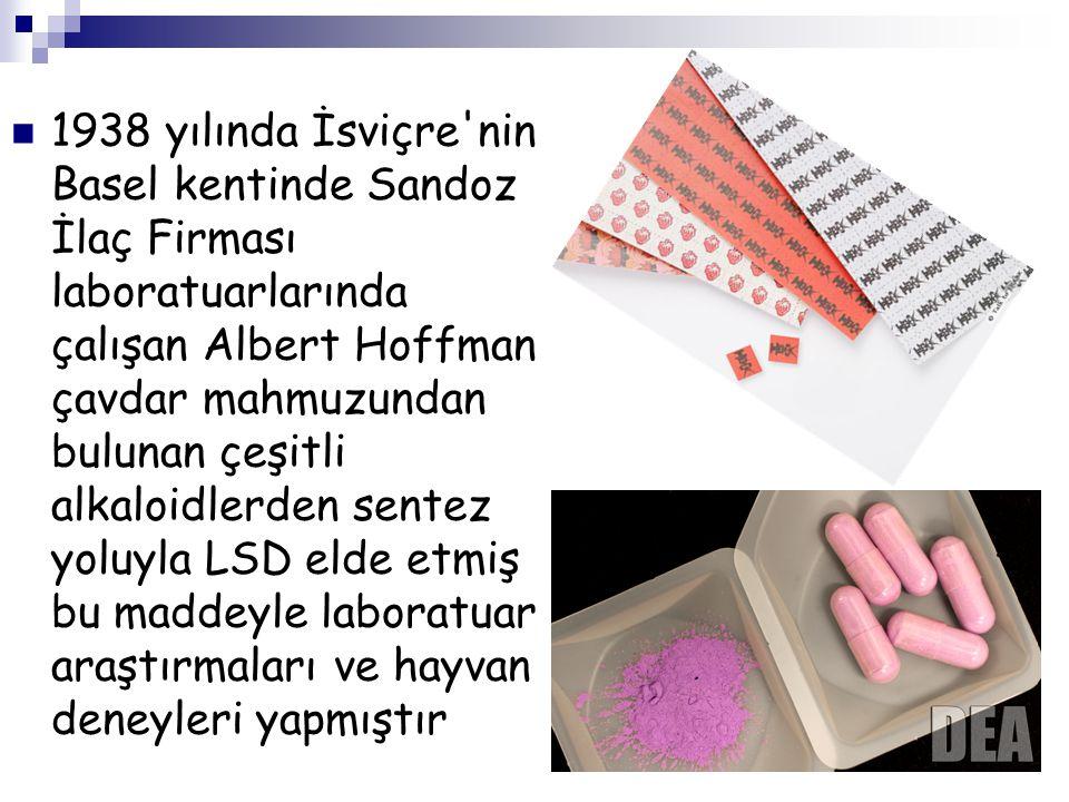 1938 yılında İsviçre'nin Basel kentinde Sandoz İlaç Firması laboratuarlarında çalışan Albert Hoffman çavdar mahmuzundan bulunan çeşitli alkaloidlerden