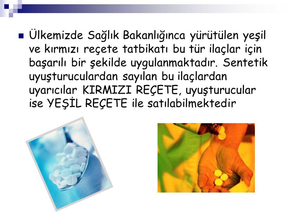 Ülkemizde Sağlık Bakanlığınca yürütülen yeşil ve kırmızı reçete tatbikatı bu tür ilaçlar için başarılı bir şekilde uygulanmaktadır. Sentetik uyuşturuc