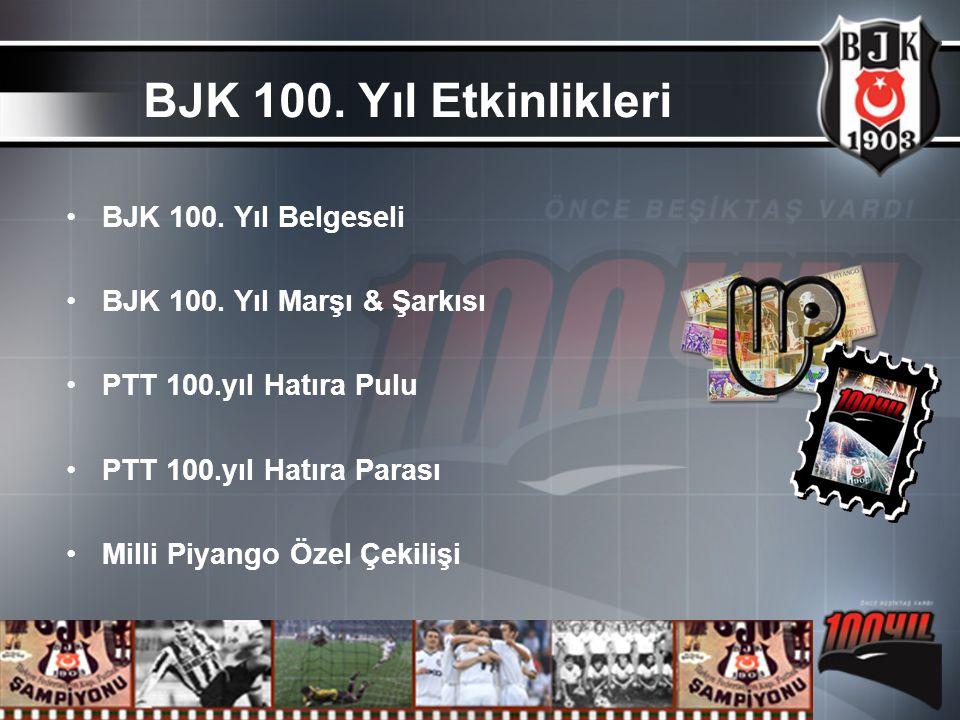 BJK 100. Yıl Belgeseli BJK 100. Yıl Marşı & Şarkısı PTT 100.yıl Hatıra Pulu PTT 100.yıl Hatıra Parası Milli Piyango Özel Çekilişi