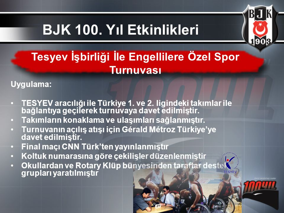Uygulama: TESYEV aracılığı ile Türkiye 1. ve 2. ligindeki takımlar ile bağlantıya geçilerek turnuvaya davet edilmiştir. Takımların konaklama ve ulaşım