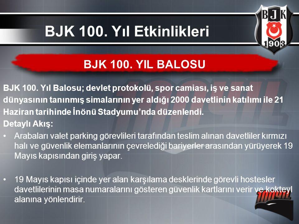 BJK 100. Yıl Balosu; devlet protokolü, spor camiası, iş ve sanat dünyasının tanınmış simalarının yer aldığı 2000 davetlinin katılımı ile 21 Haziran ta
