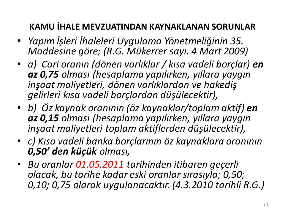 KAMU İHALE MEVZUATINDAN KAYNAKLANAN SORUNLAR Yapım İşleri İhaleleri Uygulama Yönetmeliğinin 35. Maddesine göre; (R.G. Mükerrer sayı. 4 Mart 2009) a) C