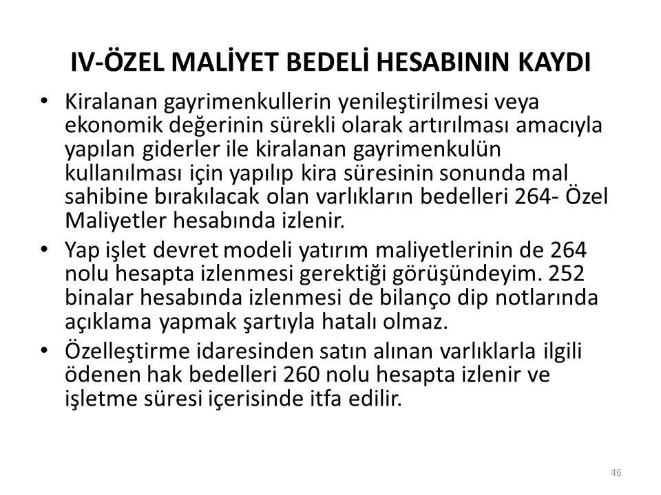 IV-ÖZEL MALİYET BEDELİ HESABININ KAYDI Kiralanan gayrimenkullerin yenileştirilmesi veya ekonomik değerinin sürekli olarak artırılması amacıyla yapılan