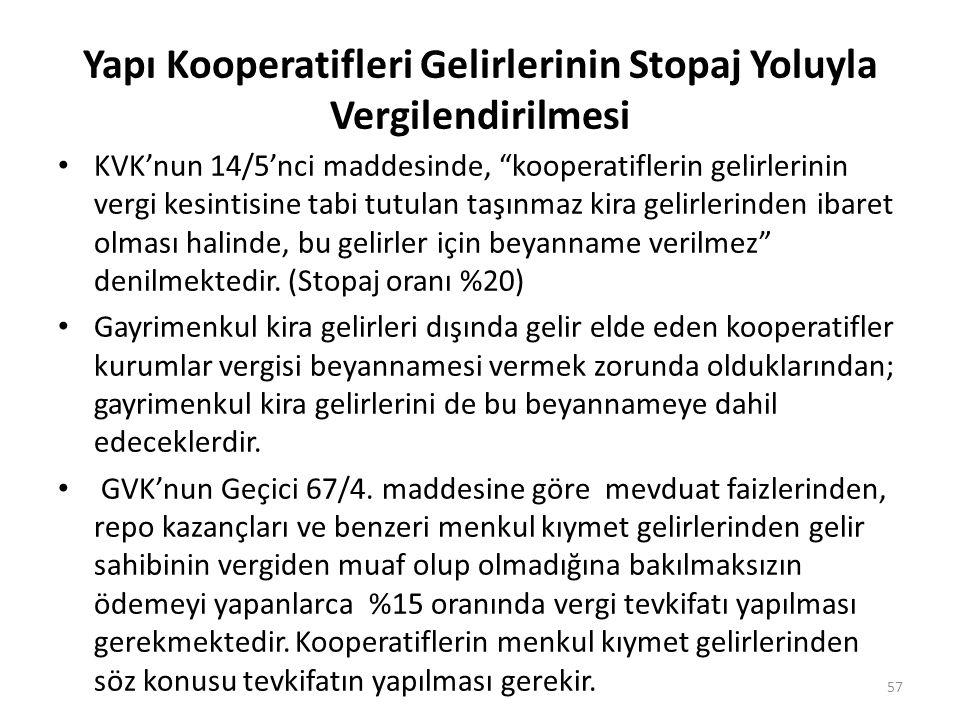 """Yapı Kooperatifleri Gelirlerinin Stopaj Yoluyla Vergilendirilmesi KVK'nun 14/5'nci maddesinde, """"kooperatiflerin gelirlerinin vergi kesintisine tabi tu"""