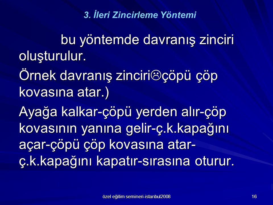 özel eğitim semineri-istanbul2008 16 bu yöntemde davranış zinciri oluşturulur. bu yöntemde davranış zinciri oluşturulur. Örnek davranış zinciri  çöpü